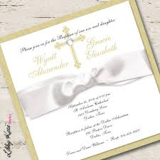 Twin Baptism Invitations Twin Baptism Invitation Christening Boy And Girl Gold Products