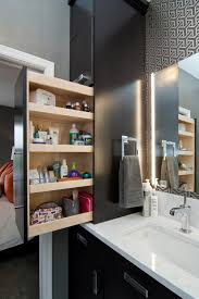 small bathroom storage with pull out shelves