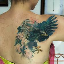 Girls Cool Magnificent Flying Eagle Watercolor Tattoo Ink Ideas On