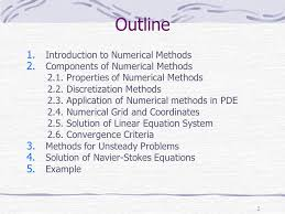 solution of navier stokes equations example outline introduction to numerical methods