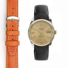 everest curved end leather strap with tang buckle for rolex vintage and datejust