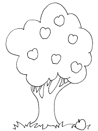 Small Picture Plants and Trees Coloring Pages in Cute Tree With Leaves And Pears