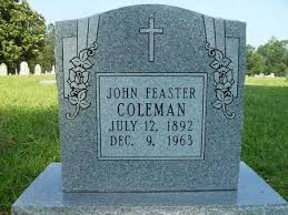 COLEMAN, JOHN FEASTER - Dallas County, Arkansas   JOHN FEASTER COLEMAN -  Arkansas Gravestone Photos