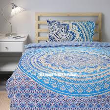 twin blue white flower ombre boho chic mandala bedding duvet set with one pillow case royalfurnish com