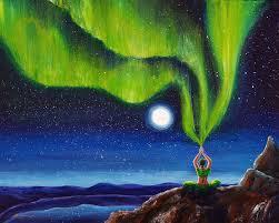 northern lights painting green tara creating the aurora borealis by laura iverson