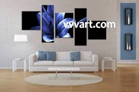 5 piece canvas wall black and white canvas art living room decor flower on blue and white canvas wall art with 5 piece canvas blue floral large pictures