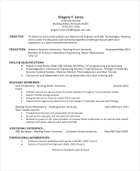 Engineering Internship Resume No Experience