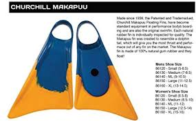 Amazon Com Churchill Makapuu Swimfins Blue Yellow Extra