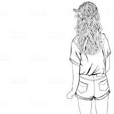 長い髪と花とかわいい女の子は大人のぬりえ本黒と白落書きスタイル 1人
