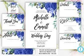 Wedding Template Unique Floral Boho Blue Rose Wedding Invitation Package Set Template Flower