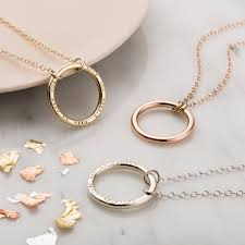 personalised 9ct gold full circle necklace 9ct yello gold 9ct rose gold without personalisation