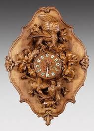 132: <b>Swiss</b> Black Forrest Style carved oak wall clock : Lot 132 (с ...