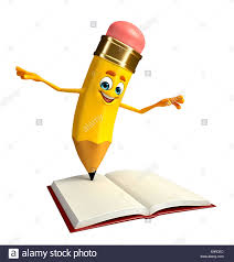 cartoon character of pencil with open book stock image