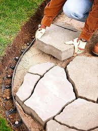 how to lay flagstone walkway laying flagstone patio over concrete