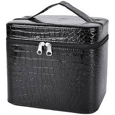amazon train case coofit portable travel makeup case crocodile pattern leather beauty box for women large black clothing