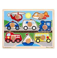 melissa doug vehicles jumbo knob puzzle