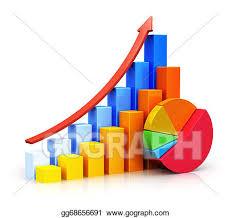 Clip Art Growing Bar Graphs And Pie Chart Stock