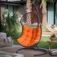 outdoor resin wicker hanging egg chair with cushion and steel stand porch swing