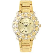 elgin men s crystal accented champagne dial date watch gold elgin men s crystal accented champagne dial date watch