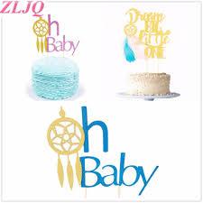 Dream Catcher Baby Shower Cake ZLJQ Glitter Pink Blue Oh Baby Dream Catcher Baby Shower Cake 78