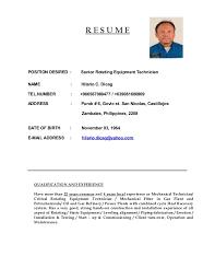 R E S U M E POSITION DESIRED : Senior Rotating Equipment Technician NAME :  Hilario C. Dicag TEL.