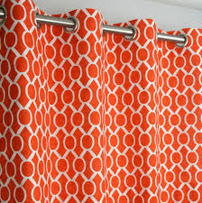 dignified of grommet top curtains in coral buble orange curtains