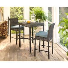 outdoor furniture home depot. Bar Height Dining Sets - Outdoor Furniture The Home Depot Fenton 3-Piece Wicker Patio High Bar/Bistro Set With Peacock Java Cushion
