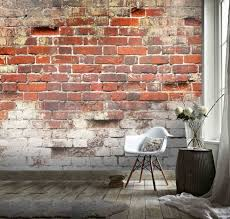 3d old red brick wallpaper removable