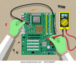 pcb icon stock images royalty images vectors shutterstock hands of engineer digital multimeter checks computer motherboard pc hardware components for personal