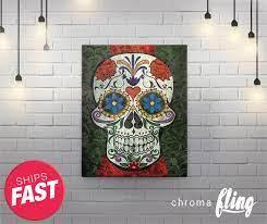 sugar skull wall art custom wall canvas
