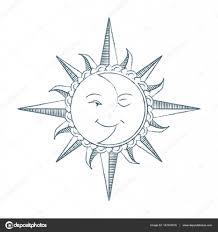 Vintage Styl Ručně Kreslenou Slunce A Měsíc Alchymický Symbol
