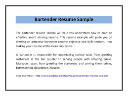 Resume For Bartender Impressive Gallery Of Bartender Resume Sample Pdf Bartender Resume Format
