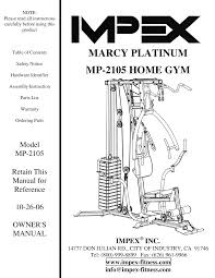 Impex Home Gym Exercise Chart Impex Fitness Mp 2105 Users Manual Parts List