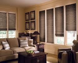 ... Attractive Living Room Blinds Hunter Douglas Woven Wood Shades Cream  Microfiber Sofa Sets Brown Oak Wooden