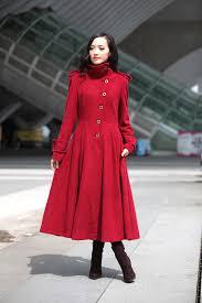 red coat big sweep high collar women wool winter coat long jacket tunic fast