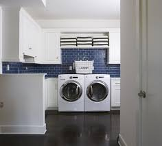 Traditional Laundry Room With Farmhouse Sink, Striped Medium Sized Storage  Bin, Cobalt Glass