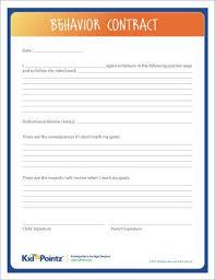 Behavior Contract Template Behavior Contracts For Kids Improve Behavior Kid Pointz