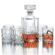 whiskey decanter set of 7 crystal scotch rocks glasses drinking barware glass