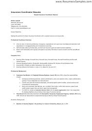 Sample Resume: Insurance Coordinator Resume Exle