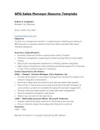 Sample Resume Format For Bpo Jobs Bpo Resume Resume Template Reo