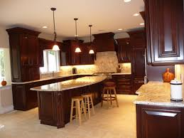 kitchen dark cherry cabinets
