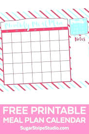 Monthly Meal Planner Printable Monthly Meal Planner Calendar Template Planning Printable