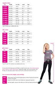 Shop Justice Size Chart Tween For Tweens Teens