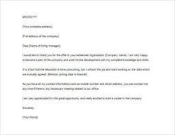 Job Offer Thank You Letter Easy Job Offer Thank You Letter Template Of Thank You Letter After