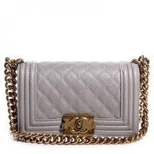 CHANEL Caviar Quilted Small Boy Flap Light Grey 71003 & CHANEL Caviar Quilted Small Boy Flap Light Grey Adamdwight.com