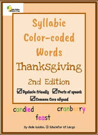 Dyslexia Friendly Color Coded Phonetic Words Thanksgiving Themed 2nd Edition