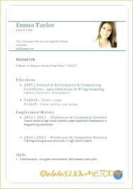 Sample Resume Format In Ms Word Of Form Blank For Job Application