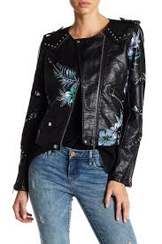 blanknyc denim painted fl faux leather moto jacket teen dream leather faux leather 60