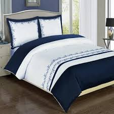 modern navy blue white embroidered cotton bedding duvet cover pertaining to king plans 1
