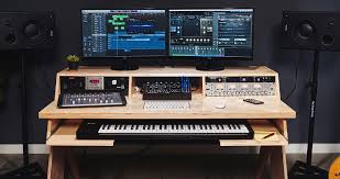 platform by output a desk for ians natural with keyboard tray